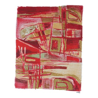 Jerry Opper Mid-Century Modern Abstract in Red Lithograph Print on Paper, Circa 1950 For Sale