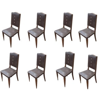 Set of Eight Vintage Italian High Back Dining Chairs For Sale