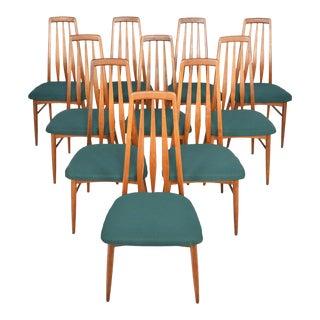 'Eva' Highback Dining Chairs in Walnut - Set of 10 For Sale