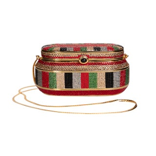 Judith Leiber Red Green Gold Crystal Box Minaudiere Evening Bag For Sale