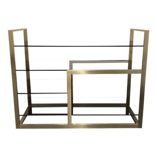 Gold Finish Metal + Smoked Glass Console Table For Sale