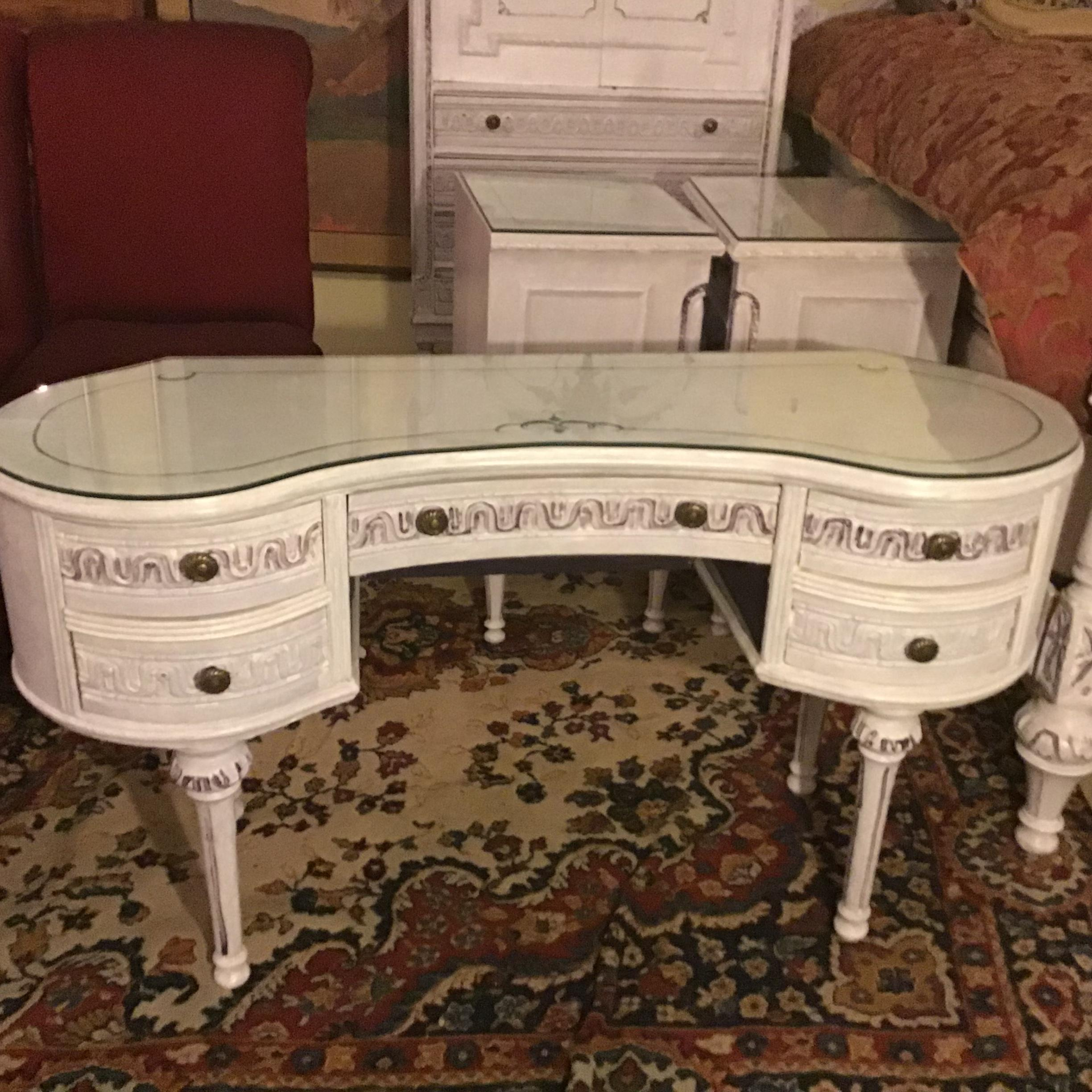 One Of A Kind Beautiful Gustavian Style Glass Top Painted Vanities/dressing  Table In Great