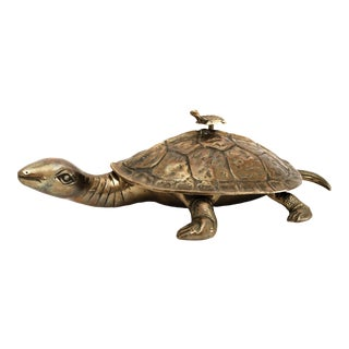 Late 20th Century Vintage Brass Turtle Box Figurine For Sale