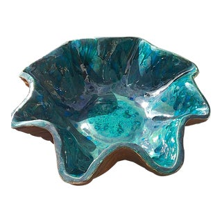 1980s Blue Morphic Glazed Teal Bowl For Sale