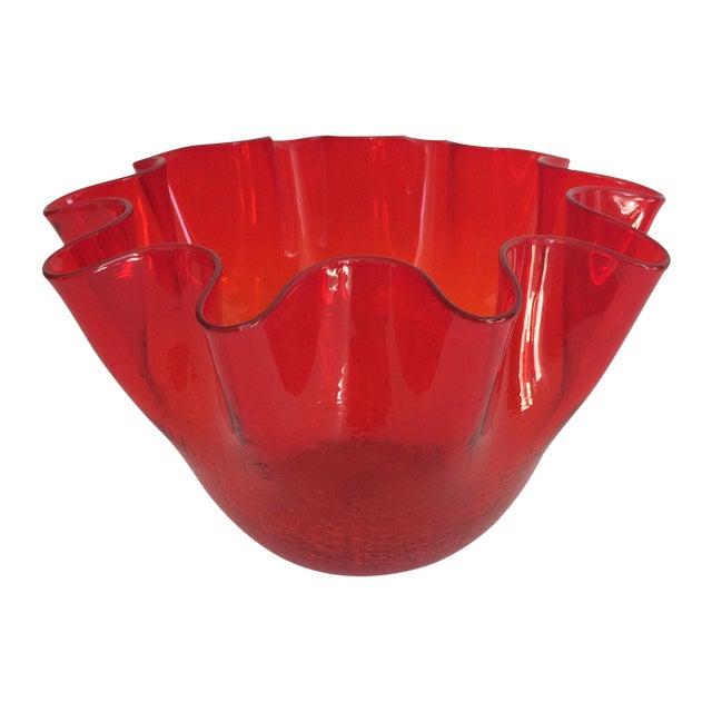 Vintage Red Blenko Crackle Glass Vase - Image 1 of 11