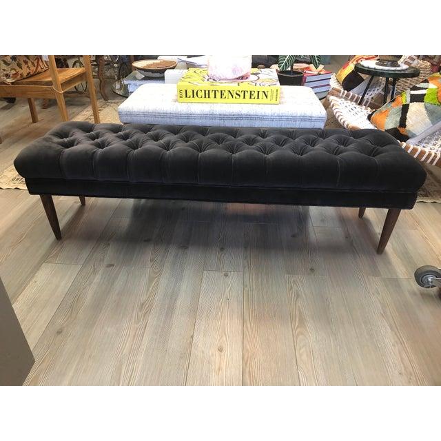 Wood Vintage Tufted Gray Velvet Bench For Sale - Image 7 of 7