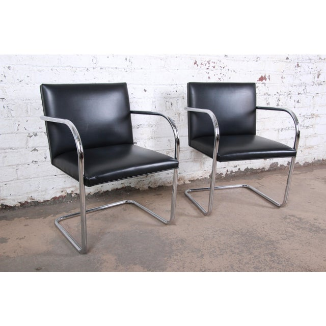 Metal Mies Van Der Rohe for Knoll Black Leather and Chrome Brno Chairs - Set of 6 For Sale - Image 7 of 13