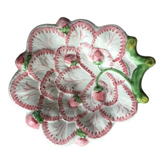 20th Century Cottage Strawberry Vine Scalloped Hand-Painted Shallow Majolica Dish For Sale