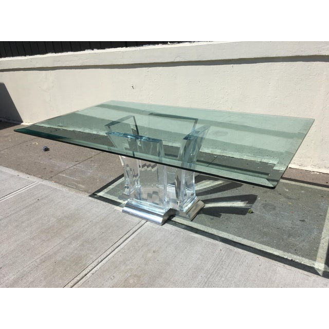 Jeffrey Bigelow Lucite and Nickel Dining Table 1980's - Image 2 of 7