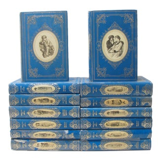 French Countess of Ségur Collection in Blue / Silver Bindings, S/14 For Sale
