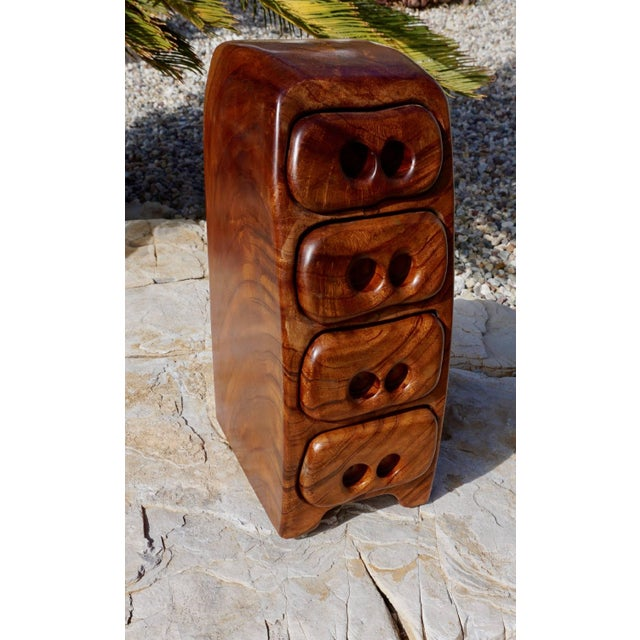 Brown Hand Sculpted Wood Jewelry/Stash Box For Sale - Image 8 of 9