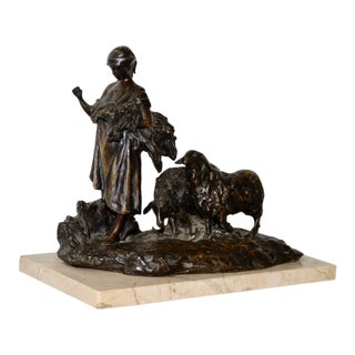 "Henri Bouchard ""Shepherdess"" Bronze Sculpture on Marble C.1910 For Sale"