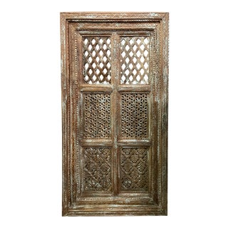 Vintage Jharokha Wall Decor Carved Reclaimed Wood Window For Sale