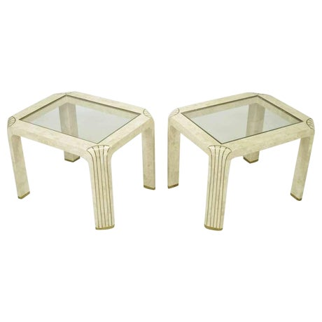 Pair Tessellated Fossil Stone & Inlaid Brass Side Tables - Image 1 of 8