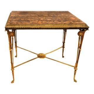 French 19 Century Neoclassical Style Bronze Marble-Top Center Table For Sale