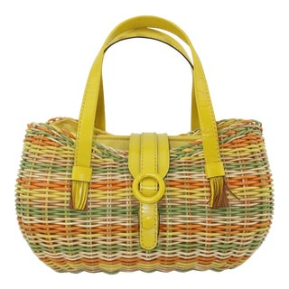 Lewis Straw & Yellow Leather Basket Handbag, 1960's For Sale
