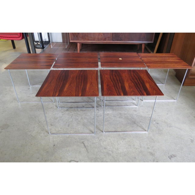 Metal 1960s Mid Century Modern Rare Rosewood Nesting Table Set For Sale - Image 7 of 11