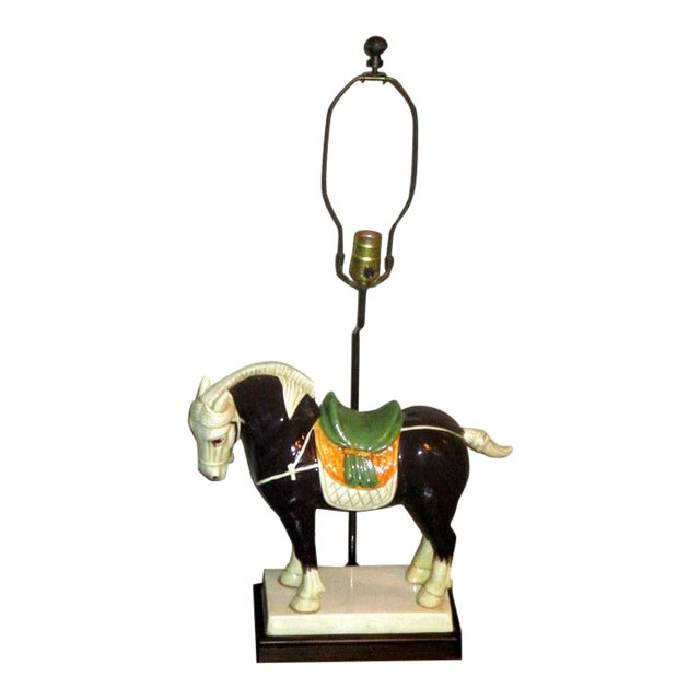 Vintage Chinese Tang Style Ceramic Horse Table Lamp For Sale
