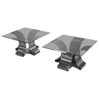 Midcentury Glass and Steel End Tables by François Monnet, 1970s For Sale