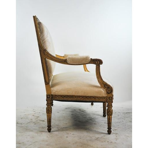 Louis XVI Gilded Settee For Sale - Image 4 of 11