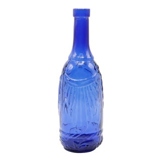 Neoclassical Cobalt Blue Glass Bottle For Sale