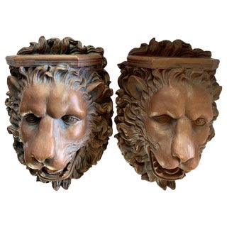 Pair of Lion Wall Shelves For Sale