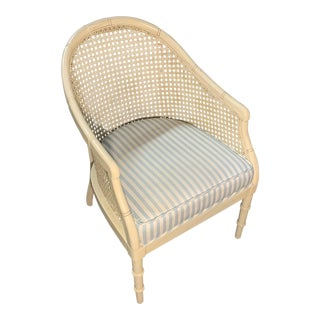 1960s Vintage Allegro Collection by Thomasville Faux Bamboo Curved Cane Back Armchair For Sale