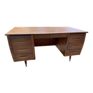 Vintage Walnut Wooden Desk For Sale