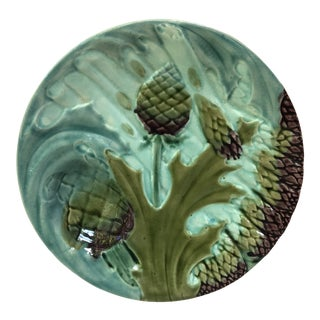 French Majolica Asparagus Luneville Circa 1890 For Sale