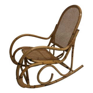 Vintage Mid Century Boho Chic Bamboo Rocking Chair in the Style of Thonet For Sale