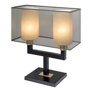 Art Deco Madison Black Bronze With English Brass Twin Lamp
