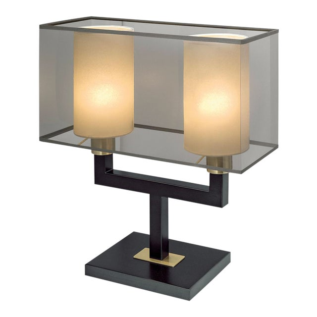 Art Deco Madison Black Bronze With English Brass Twin Lamp For Sale