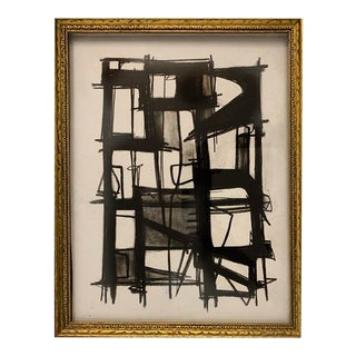 Abstract Original Framed Charcoal Black and White Drawing For Sale