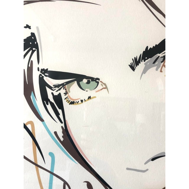 """1980s """"Victoria/Green Eyes"""" Postmodern Portrait Serigraph Limited Edition by Dennis Mukai, Framed For Sale - Image 5 of 7"""