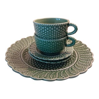 1990s Green Basketweave Majolica Serving Set - 5 Pieces For Sale