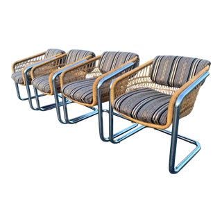 Mid Century Cantilever Wicker Rattan Barrel Chairs - Set of 4 For Sale