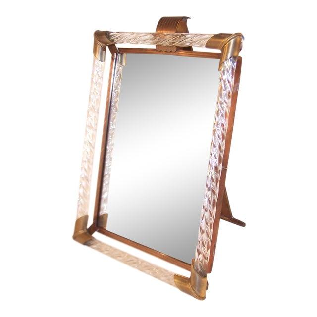 Elegant C 1940 Venini Italian Glass Dressing Table Vanity Mirror