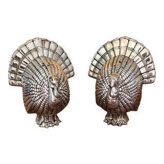 20th Century Traditional Silver Turkey Salt & Pepper Shakers - a Pair For Sale
