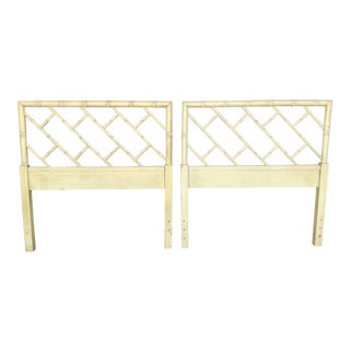 Coastal Bamboo Chinese Chippendale Twin Headboards - a Pair For Sale