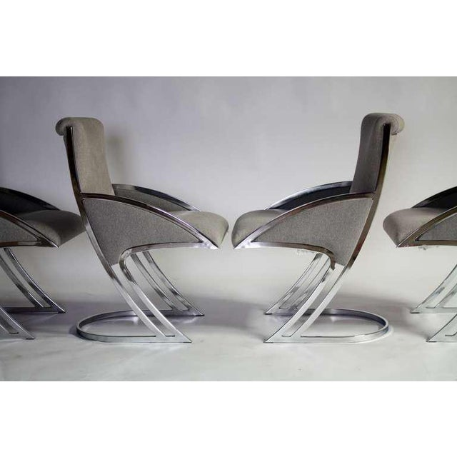1970s Set of Four Chrome Dining Chairs For Sale - Image 5 of 9
