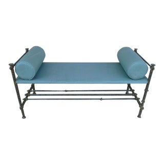 1950s Mid-Century Modern Ilana Goor Hand Stitched Leather and Hand Forged Iron Bench For Sale