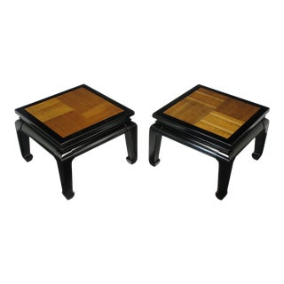 Pair Ming Low Tables With Parquetry Tops For Sale