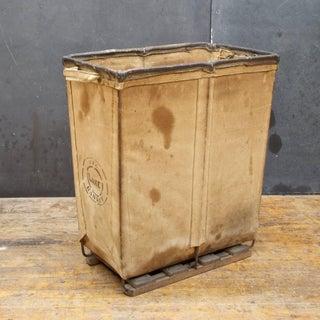 Vintage Petite 1940s Industrial Canvas Laundry Clothing Textile Bin Basket Preview
