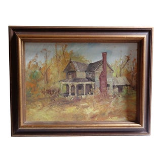"Vintage ""Farmhouse in Autumn"" Original Framed Oil Painting For Sale"