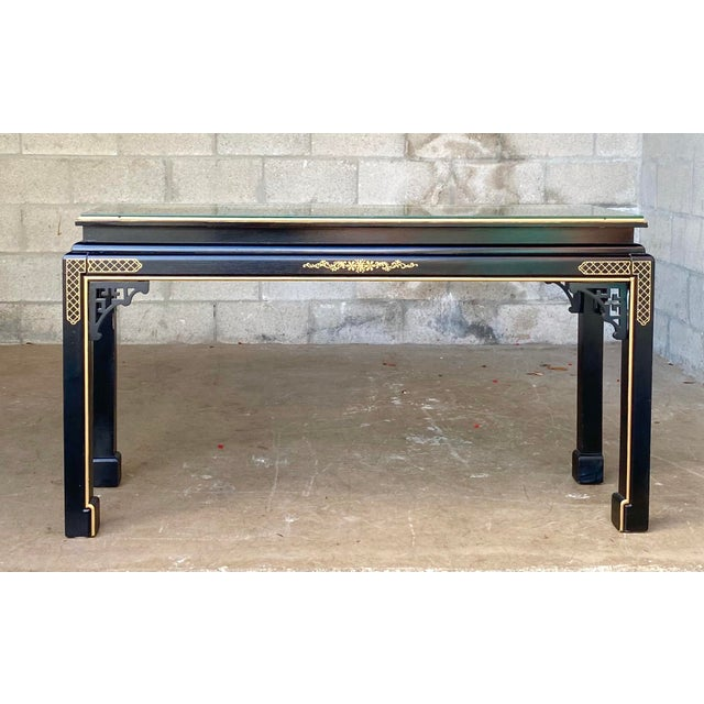 Hollywood Regency Chinoiserie Fretwork Console Table For Sale - Image 9 of 10