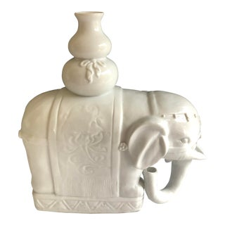 1940s Antique Chinese Blanc De Chine White Elephant Candle Holder. For Sale