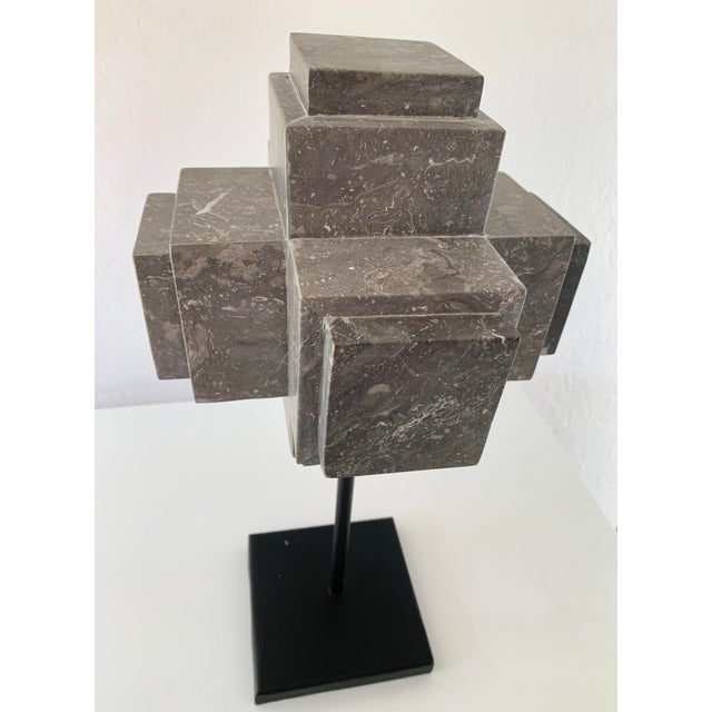 Stone Modern Sculpture Gray Marble Cube on Stand For Sale - Image 7 of 10