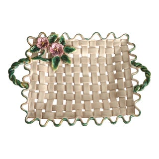 20th Century Italian Majolica Basketweave Tray Platter For Sale