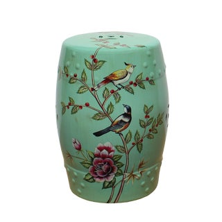 Turquoise Pastel Green Blue Porcelain Flower Birds Round Stool Ottoman For Sale