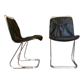 Mid-Century Modern Black & Chrome Dining Chairs - a Pair For Sale